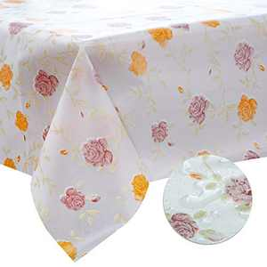 DITAO Spring and Summer Floral Tablecloth, Rectangle Vinyl Plastic Tablecloth, Waterproof Wipeable Table Cover Protector for Kitchen, Dining, Party, Picnic, Indoor & Outdoor