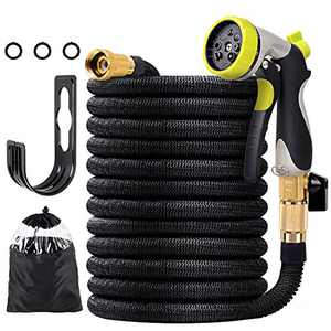 100 FT Lightweight Expandable Garden Hose, Retractable Water Hose Non-kink Flexible Hose with 3/4'' Solid Brass Fittings and 8 Function Heavy Duty Spray Nozzle