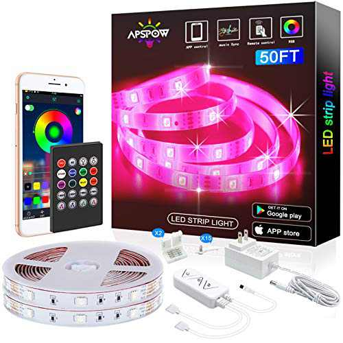 LED Strip Lights 50ft , Multicolor RGB LED Light Strips, 5050 LED Tape Lights, Music Sync Color Changing+Remote Control +APP Controlled LED Strip Lights for Bedroom Party Home Decoration