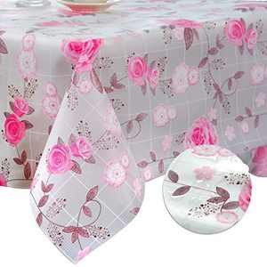 DITAO Easter and Spring Floral Tablecloth, Rectangle EVA Tablecloth with Embossed Backing, Waterproof Wipeable Table Cover Protector for Party, Baby Shower, Mothers Day