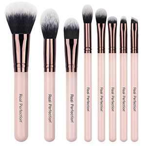 Real Perfection 8pcs Makeup Brushes, Makeup Brush Set Powder Foundation Contour Blending Eyeshadow Brow Brush Kit
