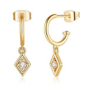 Dainty Gold Geometric Earrings, S925 Sterling Silver Post Women Hypoallergenic 14K Gold Plated Small Dangle Hoop Earrings Jewelry for Girls Best Friends Wedding Graduation Birthday Anniversary