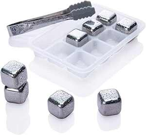 Whiskey Stones, Reusable Ice Cubes, Whiskey Chilling Stones, Stainless Steel Metal Beverage Chilling Rocks, Gift Sets for Man and Woman, Husband Birthday, Dad and Boyfriend 8PCS