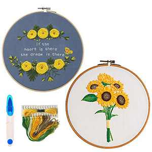 Embroidery Kit for Beginners UBEART Embroidery Starter Set Includes 2 Embroidery Clothes,Bamboo Embroidery Hoops,Color Threads,Scissors and Needles,Cross Stitch Tool Kit with Pattern and Instructions