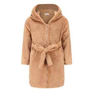 Girl Sherpa Bathrobe Full Zip Warm Hoodie Long Sleeve Sweatshirt Fleece Pullover Brown 8 9