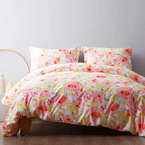 NexHome Comforter Cover and Pillowcases Floral Printed, King Duvet Cover Set with Zipper and 2 Pillow Shams - Corner Ties