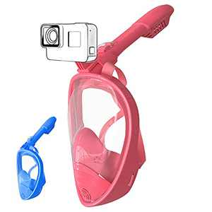 ALUCKY Kids Full Face Snorkel Mask,Safety Breathing System Anti-Fog Anti-Leak Foldable Snorkeling Mask,Clear Panoramic Viewing Diving Mask with Detachable Camera Mount for Novice Pool Swimming(Pink)