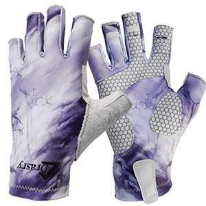 Drasry UV Protection Fishing Fingerless Gloves Men Women UPF 50+ SPF Gloves for Fishing Kayak Paddling Hiking Sailing Rowing Sun Gloves (Purple - Storm, XL)