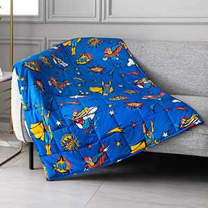 """Topblan Kids Weighted Blanket 5 lbs 36""""x48"""" for Kids and Teens, 100% Natural Cotton with Premium Glass Beads, Calming Kids Mind and Sleep Well, Blue Super Heroes"""