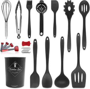 Pahajim Kitchen Utensil Set Stainless Steel,Pasta Server Slotted Turner Slotted Spoon Basting Brush Kitchen Tong Flexible Spatula Deep Soup Ladle Solid Turner Solid Spoon Egg Whisk(All Black)