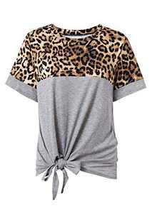 Fleur Wood Women Short SleeveLeopard Patchwork Shirts Twist Knot Loose Blouse Tops(Grey,S)