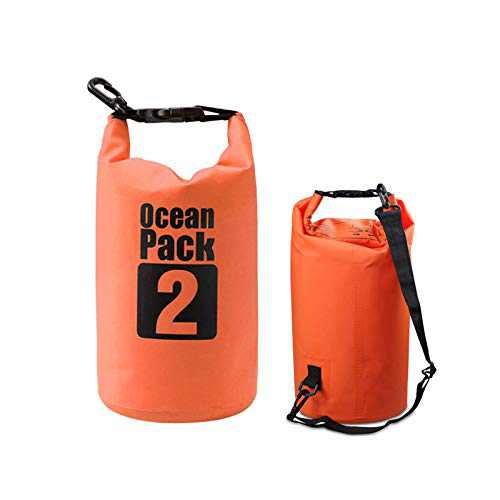 Waterproof Marine Dry Bags,2L Lightweight Foldable Storage Bag Backpack, With Clip Mesh Cloth Bucket Bag For Travel Rafting Boating Sport Camping Organizer (Orange)
