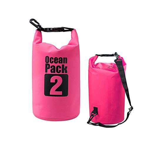 Waterproof Marine Dry Bags,2L Lightweight Foldable Storage Bag Backpack, With Clip Mesh Cloth Bucket Bag For Travel Rafting Boating Sport Camping Organizer (Pink)