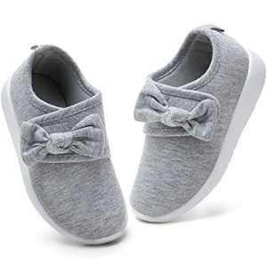 nerteo Toddler Shoes Girls Slip On Walking Shoes Comfort Sneakers Light Grey 5 M US Toddler/Littler Kid