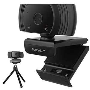 Macally 1080P Webcam with Microphone and Tripod - Stay Connected Virtually - Wide Angle HD Webcam with 120° Views, 30FPS, and Omnidirectional Microphone - PC and Mac Webcam for Streaming or Meetings
