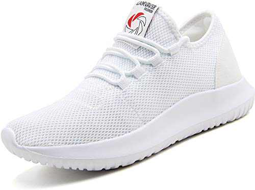 CAMVAVSR Women's Tennis Shoes Slip on Lightweight Soft Sole Comfortable Flexible Fashion Sneakers for Young Women Youth Men Size 6 Women Size 8 White