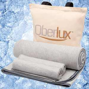 """Oberlux Cooling Blanket & Cooling Pillow Cases-3 Piece Set (Blanket size 59"""" x 79"""" Pillowcases size 20"""" x 30"""") Cool Touch Q-max 0.5 - Summer Blanket 100% Cotton Backing. Breathable, Comfortable, Gray."""