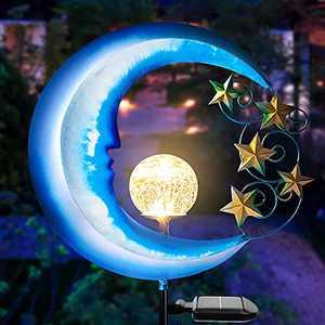 Outdoor Decor Garden Solar Lights - Moon Decor Solar Garden Decorations - Outdoor Lights Solar Powered Gazing Ball Path Lights - Solar Decorative Lights Outdoor Porch Garden Accessories