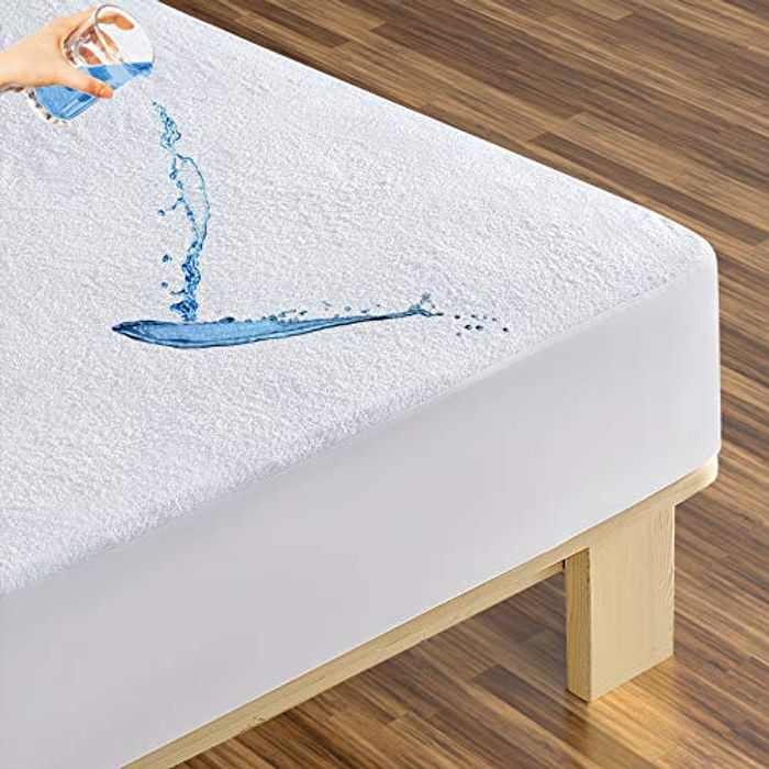 MASVIS Waterproof Terry Towel Mattress Protector Hypoallergenic Topper Cover with Deep Skirt (Double)