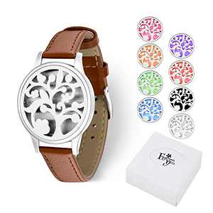 Birthday Gift for Women, Aromatherapy Essential Oil Diffuser Bracelet Jewelry w/ 8 Color Felt Pads, Gift Idea for Girls, Girlfriend, Mom at Birthday, Mother's Day, Boss Day (Tree of Life)