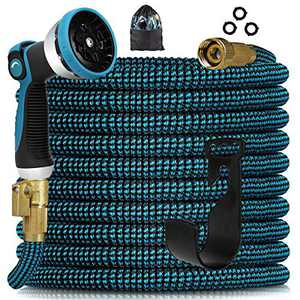 """Knoikos Expandable Garden Hose 25ft - Expanding Water Hose with 10 Function Nozzle /Durable 3750D /3/4"""" Solid Fitting Connectors,Easy Storage Kink Free Garden Water Hose"""