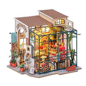 ROBOTIME DIY Dollhouse Kit Mini House with Furnitures Accessories 1:24 Scale Craft Kit - Emily's Flower Shop