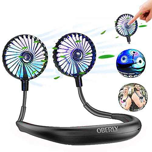 Neck Fan, Original Unique All-black Fan, OBERLY Personal Fan, With 2500mAh USB Rechargeable Battery, Silent LED Lighting 360°Direction, 3 Speeds Up To 11 Hours, Portable Fan,for Outdoor Home Office