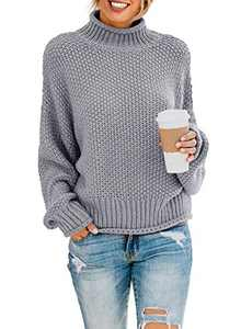 Actloe Womens Turtleneck Knitted Sweater Long Sleeve Oversize Chunky Pullover Sweater Outerwear Large C Gray