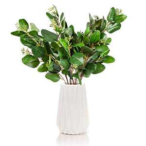 Antea Decor Eucalyptus Stems 5 Pack - Artificial Greenery - Perfect for Farmhouse and Wedding Decor - 6 Branches Per Stem - 27.5 inches
