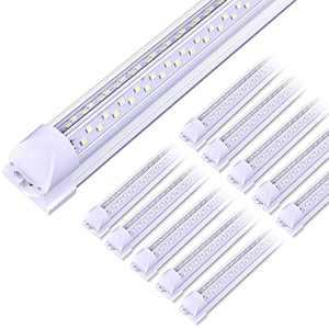 """ELEKICO 8FT LED Shop Light, Super Bright 100W Shop Lights, 14000LM 5000K 8 Foot Led Lights, Linkable 96"""" LED Shop Lights Lighting for Garage with Plug, V Shape T8 8' Led Light Fixtures 10 Pack"""