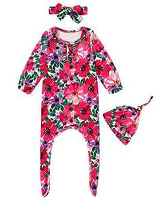 Dramiposs Baby Girl Cute Floral Nightgown Newborn Cotton Outfit Set with Hat and Headband (Rose Red02,0-3 Months)
