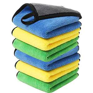 ANMAIKER 6 Pcs Microfiber Towel, Towels Lint Free, Extra Thick Fibre Double Layer Super Towel, Super Absorbent,Scratch Free, Reusable Towel