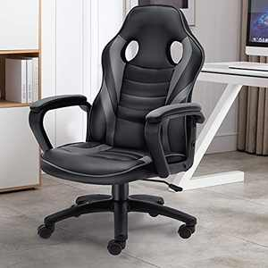 Bonzy Home Gaming Chair Racing Style Office Swivel Computer Desk Chair Ergonomic Conference Chair Work Chair with Lumbar Support PU Leather (Gray)