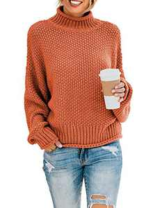 Actloe Womens Casual Cowl Turtle Neck Sweater Batwing Sleeve Oversized Loose Fit Sweater Pullover Tops XL C Orange