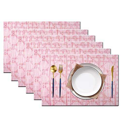 pigchcy Beehive Placemats Set of 6, Plastic Placemats Heat-Resistant Non-Slip Vinyl Table Mats Washable Easy to Clean Placemat for Dining Table (Pink-Red)