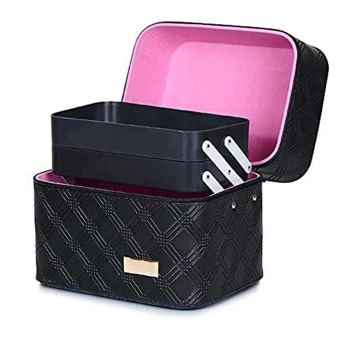 Hotrose Extra Large Space Storage Beauty Box Make up Nail Jewelry Cosmetic Vanity Case (Black 1)