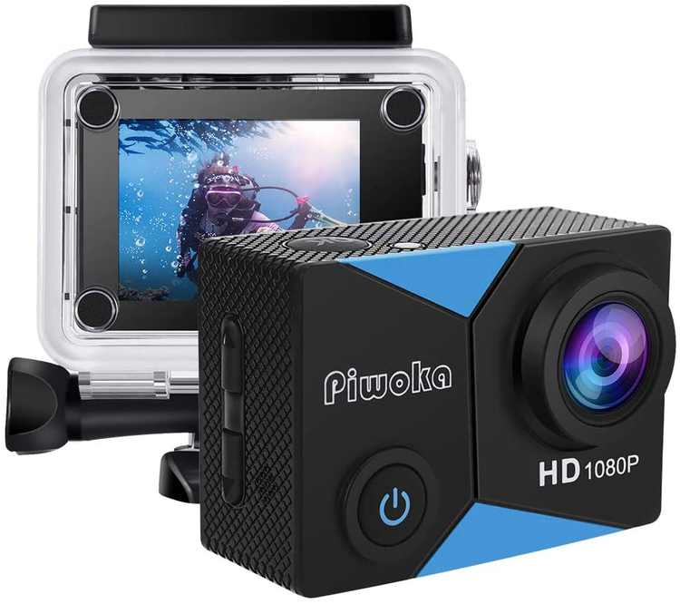 """Piwoka Action Camera 1080P 12MP Waterproof Underwater 98ft Sports Camera 2"""" LCD Screen Wide Angle with Mounting Accessories Kit"""