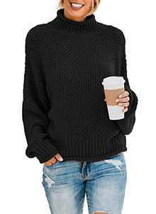 Actloe Womens Solid Turtleneck Sweaters Batwing Winter Ribbed Fashion Casual Loose Oversized Chunky Knit Pullovers M C Black