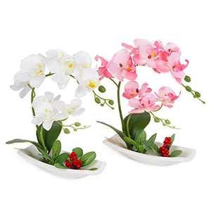 LIVILAN Artificial Orchid Arrangements for Decoration Silk Fake Flowers for Table Centerpiece Home Decor Office Wedding Vivid White