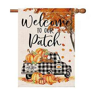 pinata Fall House Flag 28x40 Inch, Fall Leaves Pumpkin Flags Double Sided, Decorative Banners Buffalo Check Truck Outdoor Decorations Seasonal Yard Decor