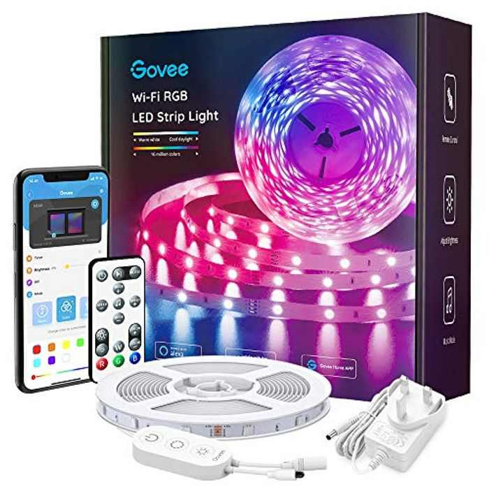 Govee Alexa LED Lights 5m, Smart WiFi RGB LED Strip Lights APP Control and Google Assistant Compatible, Music Sync Colour Changing for Bedroom, Living Room, Home, Party