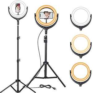 """12"""" Selfie Ring Light-Touch Switch-Ring Light with Tripod Stand & Phone Holder, Dimmable Led Ring Light for Makeup YouTube Video Vlogging Live Stream Photography, Ringlight Flashes for iPhone Android"""
