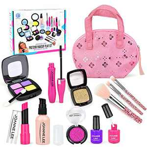 Kids Makeup Kit for Girls Pretend Play Makeup Cosmetic Toys Set Fake Make up Toy with Shiny Bag for Little Princess Toddler 2 3 4 5 6 Years Old Birthday Gifts