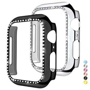 Mastten 2-Pack Case Cover Compatible with Apple Watch 44mm, Bling Diamond Bordered Protector Compatible with Series SE 6 5 4, Black+Silver