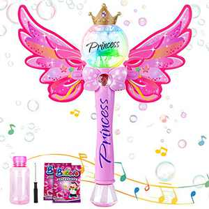 Tigerhu Bubble Machine Bubble Blower with Detachable Wings, Musical Light up Butterfly Bubble Blower with Bubble Solution, Perfect to Use for Party, Wedding, Indoor and Outdoor Activities
