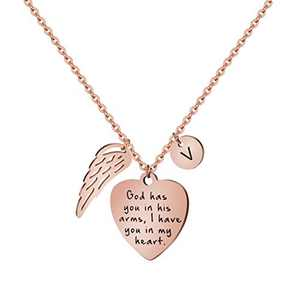 Rose Gold Personalized Memorial Gifts Loss of Loved One Remembering Initial V Necklace Sympathy Jewelry for Her Women Teen Girls Sister Best Friend