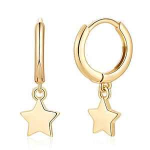 Star Huggie Hoop Earrings, S925 Sterling Silver Post 14K Gold Plated Dainty Small Minimalist Huggie Dangle Hoop Earrings Gold Huggy Hoop Dangle Earrings