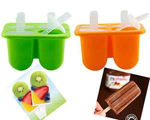 Silicone Popsicle Molds Shape Maker, Ice Popsicle Mold Kids Homemade Ice Cream Baby Popsicle Maker Oval with Rensuable Sticks for DIY Ice Cream