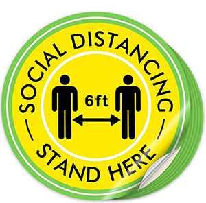 Social Distancing Floor Decals for Carpet- 12 Inch Social Distance Floor Sticker- Heavy-Duty Social Distancing Floor Sticker for Crowd Control Guidance (10)