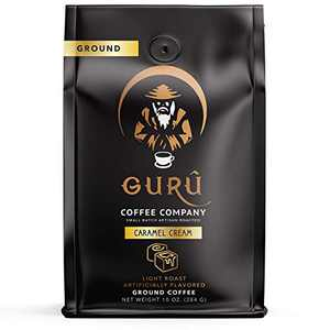 Guru Coffee Company Ground Coffee Light Roast, Caramel Cream Flavored Coffee - Small Batch Artisan Roasted & Responsibly Sourced From Gourmet Specialty Grade Beans, 10 ounce